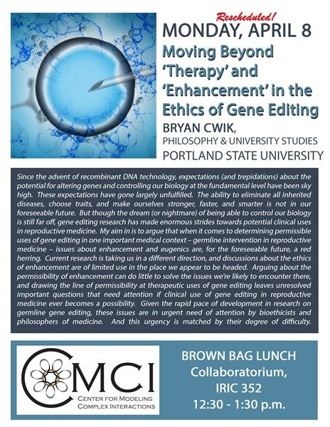 Ethics of Gene Editing Talk Rescheduled