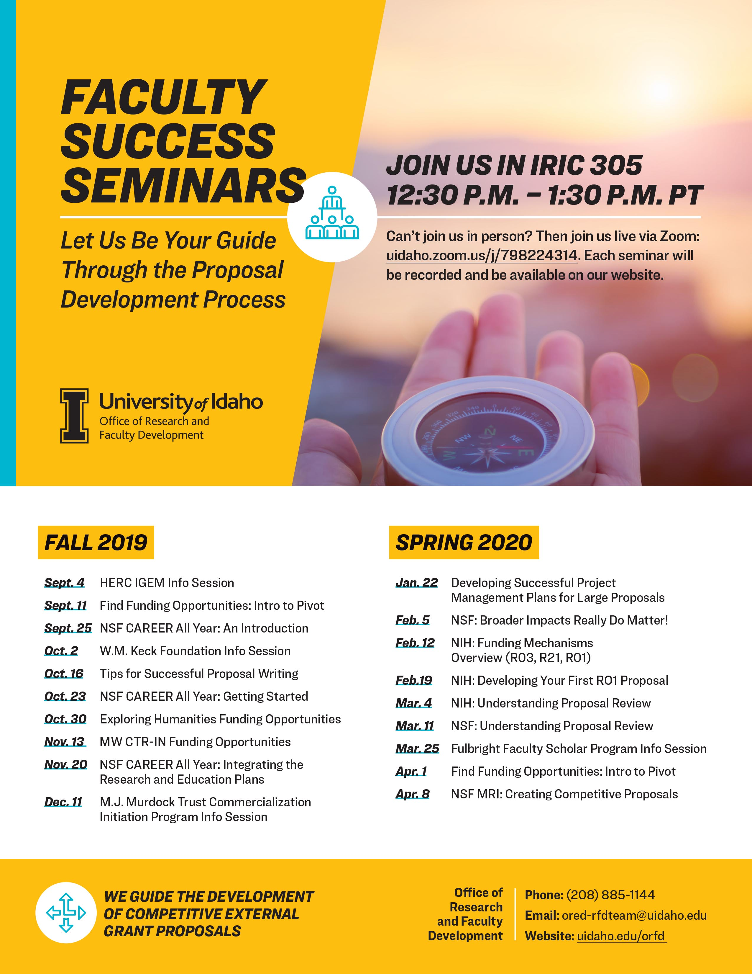 faculty success seminar flyer